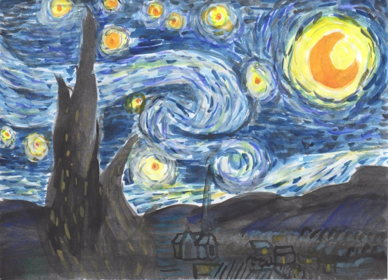 Watercolor Starry Night by Yva Barbour